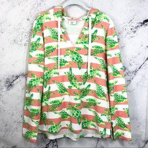 crown&ivy turtles striped hooded sweatshirt Sz M